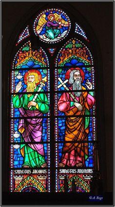 Window in Bragernes church, built in 1869, Norway