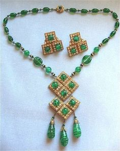 Miriam Haskell Green Art Glass Pendant and Earrings