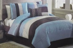 6 Pc Blue, Brown, and Beige, Striped, Bed in a Bag, Comforter Set, Queen Size Bedding By Plush C Collection by Plush C Collection, http://www.amazon.com/dp/B00BSD10L6/ref=cm_sw_r_pi_dp_pQrMrb0RASWZE