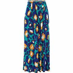 Blue graphic animal print maxi skirt - maxi skirts - skirts - women £28