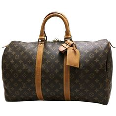 Pre-owned Louis Vuitton Keepall 45 Monogram Boston Travel Hand Brown... ($390) ❤ liked on Polyvore featuring bags, luggage and brown