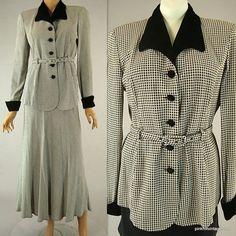 Black White Top Blouse Check Pattern Velvet Accent 2 pc Skirt Set Vintage 80s 6 #Panache