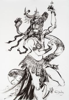 Painting depicting the universe and nature in its Androgynous form. The God Shiva and the Goddess Parvati in their inseparable union. Shiva Art, Shiva Shakti, Gods Tattoo, Shiva Tattoo, Shiva Sketch, Lord Shiva Painting, Lord Mahadev, God Pictures, Indian Gods