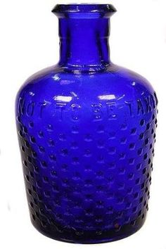 Lysol - cobalt blue - typical shape with diamond lattice design - 'Not to be Taken' - tall. Condition: Very Good. by sherry Antique Glass Bottles, Vintage Bottles, Bottles And Jars, Cobalt Glass, Cobalt Blue, Im Blue, Blue And White, Colored Vases, Lattice Design