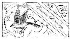 Vintage Clip Art - Fancy Calling Card with Bird - The Graphics Fairy