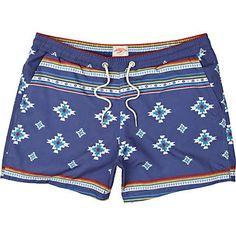 blue navajo print swim shorts - swim shorts - shorts - men - River Island ($20-50) - Svpply