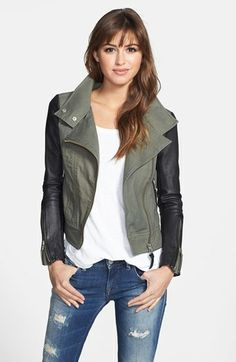 { Leather Sleeve Twill Moto Jacket }