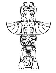 √ totem Pole Coloring Pages . 3 totem Pole Coloring Pages . Totem Pole Drawing, Totem Pole Craft, Native American Totem Poles, Native American Art, American Symbols, American Indians, Arte Haida, American Day, American Quotes
