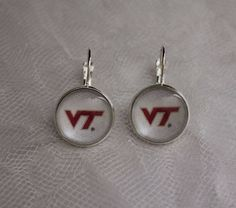 Virginia Tech Hokies Earrings Made From Upcycled Football Trading Cards…