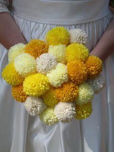 not even kidding... brilliant!!     24 Small Yellow Pom Pom Flowers Bouquet by stephaniescraftshop