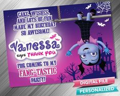 Vampirina Thank you Card - PrintDParty Selling Birthday Invitation and Printable Party Decoration Digital File. Printable Birthday Invitations, Party Printables, Birthday Thank You Cards, Birthday Party Decorations Diy, Printed Materials, Card Stock, This Or That Questions, Fun, Cartonnage