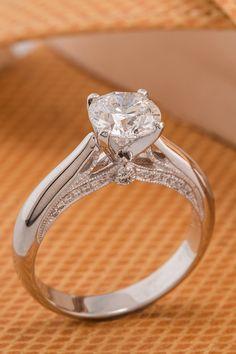 Classic cathedral round diamond platinum engagement ring || @shanecompany #ShaneCo