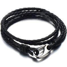 Double Brin - Bracelet en Cuir Tressé Homme Femme - Noir Véritable Cuir - Acier Inoxydable Fermoir Crochet