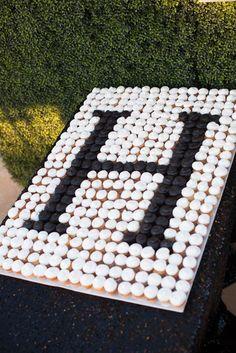 Monogram cupcake display by The Hospitality Sweet