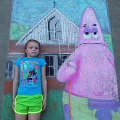 SpongeBob American Gothic Chalk Drawing