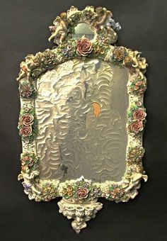 Magnificent 19th C. Meissen Style Floral Figural Mirror : Lot 310