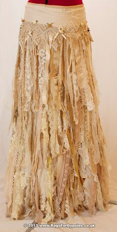 Exquisite Gypsy Esmeralda Ragged Tattered Long Skirt. SOLD