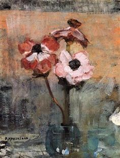 Shop for Piet Mondrian 'Anemones in a Vase' Oil on Canvas Art - Multi. Get free delivery On EVERYTHING* Overstock - Your Online Art Gallery Store! Piet Mondrian, Arte Floral, Dutch Painters, Dutch Artists, Art Moderne, Fine Art, Painting & Drawing, Flower Art, Art Photography