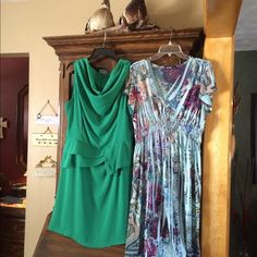 Two Dresses Green, 14, previous rip in seam, sewed now.Pale blue dress is an X large. They are both washable, green needs slight iron Blue comes out of the dryer perfect, travels well Dresses