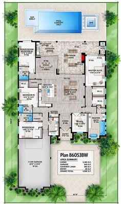 Southern Contemporary House Plan with Outdoor Living In Back - 86053BW floor plan - Main Level