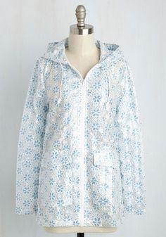 Flower Showers Rain Coat in Blue, #ModCloth