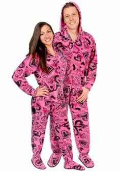 Amazon.com: Pajamacity Women's Sketchy Hearts Hooded Fleece Footed Pajamas With Drop Seat: Clothing
