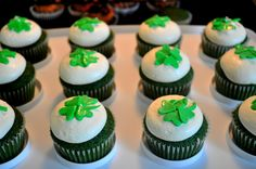 Green Velvet cupcakes topped with vanilla cream cheese and fondant four leaf clovers.
