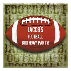 Football Birthday Party Vintage Green Grunge Invitation