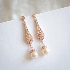 Rose Gold Wedding Bridal Earrings, Chandelier Bridal Earrings, Swarovski Pearl Drop Dangle Earrings, Old Hollywood Wedding Jewelry, TRISSIE