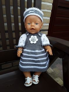 Babyborn Knitted Doll Patterns, Baby Dress Patterns, Baby Clothes Patterns, Knitted Dolls, Baby Born Clothes, Bitty Baby Clothes, Crochet Baby Clothes, Baby Born Kleidung, Knitting Dolls Clothes