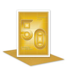 50th wedding anniversary card 50 typography golden yellow gold colours, blank or optional personalised message inside envelope choices - pinned by pin4etsy.com