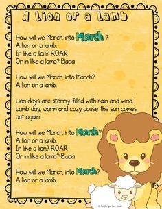 In Like a Lion? Or In Like a Lamb? — Kindergarten Kiosk Preschool Poems, Preschool Activities, Kindergarten Themes, Preschool Projects, Homeschool Kindergarten, Spring Activities, Language Activities, Kid Crafts, Lion Song