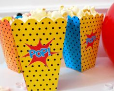 Instant Download Popcorn and Candy mini printable superhero boxes party favors DIY super hero
