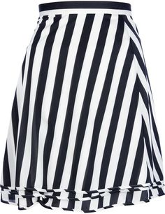 White and Black Vertical Striped Skater Skirt by Comme des Garcons. Buy for $631 from farfetch.com