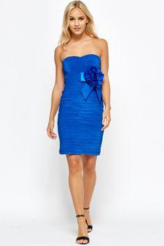 Bandeau Floral Ruched Dress