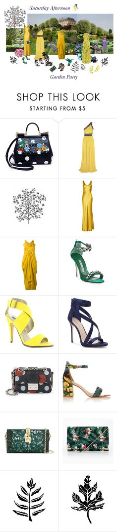 """""""Saturday Afternoon Garden Party"""" by happiestime ❤ liked on Polyvore featuring Dolce&Gabbana, Elie Saab, Galvan, Rick Owens, Manolo Blahnik, Michael Antonio, Imagine by Vince Camuto, RED Valentino and Chelsea Flower"""