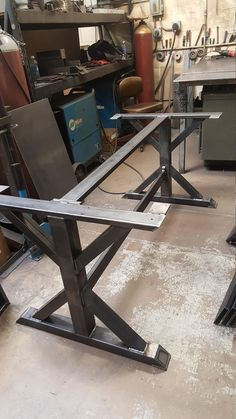Trestle Table Legs with 2 Braces, Model Heavy duty, Industrial Legs, Dining Table Leg Set Dining Table Legs, Trestle Table, Dining Table In Kitchen, Patio Table, Trestle Legs, Recycled Furniture, Metal Furniture, Welding Table Diy, Welding Torch
