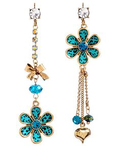 betsey johnson gold/teal leopard mismatch earrings