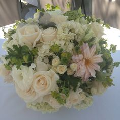 Rose Hydrangea Dahlia Jasmine flowers centerpiece with neutral colors ... Love my florist!