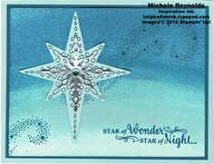 Handmade Christmas card using Stampin' Up! products - Star of Light Photopolymer Stamp Set, Sponge Brayers, Starlight Thinlits, Foil Sheets, and Rhinestone Basic Jewels.  By Michele Reynolds, Inspiration Ink.