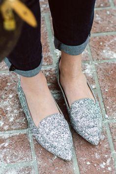 Silver glitter loafe