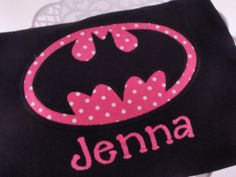 Girl's Personalized Batman Superhero Shirt-batman, custom, superhero, boutique, personalized, comic strip, comics, name shirt, personalized shirt, kids shirt, appliqued, embroidered, boys, girls, pink, polka dots, black