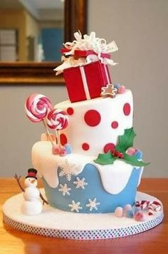 25 Creative Christmas Cake Decorating Ideas And Design Examples Noel Christmas, Christmas Goodies, Christmas Treats, Christmas Baking, Christmas Cakes, Christmas Birthday Cake, Xmas Cakes, Winter Christmas, Cake Birthday