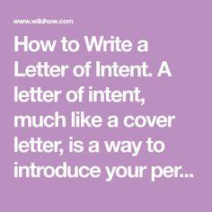 Sample Letter Of Intent HttpWwwLetterOfIntentOrgUsingA