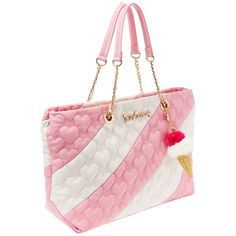 SPLIT DECISION QUILTED HEART TOTE ❤ liked on Polyvore featuring bags, handbags, tote bags, heart purse, quilted purses, quilted tote, betsey johnson tote and white quilted purse