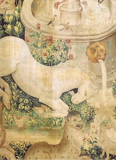 """Tapestry no. 2: The Unicorn is found (detail)    New York City, Metropolitan Museum, The Cloisters  The Unicorn Tapestries on """"the hunt of the unicorn""""  Series of seven Flemish tapestries from around 1500 CE"""