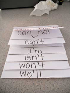 This is a flip book that the students could make to help them learn about contractions. It shows the two words and then the contraction that they make.