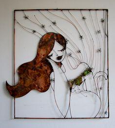 Donna alla finestra Filo e lastra di rame 45x60 cm