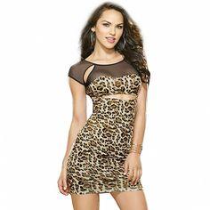 New Woman Sexy Cut Out Sheer Mesh Insert Cap Sleeve Leopard Dress Bodycon Club Mini Dresses