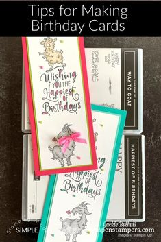 I've got loads of handmade birthday card ideas and tips for making birthday cards for the young and young at heart. Check these out at www.klompenstampers.com #birthdaycards #howtomakeabirthdaycard #cardmakingbirthday #birthdaygreetingcards #diybirthdaycards #stampinupwaytogoat #waytogoatstampinup #jackiebolhuis #klompenstampers #stampinupcards